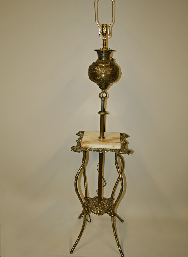 Victorian Adjustable Height Floor Lamp W Brass Table C