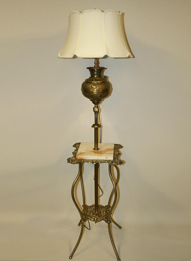 Victorian Adjustable Height Floor Lamp W Brass Table C