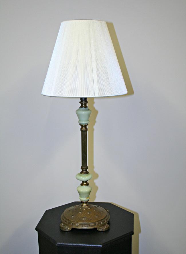 Vintage Green Jadeite Glass Amp Iron Lamp C 1930