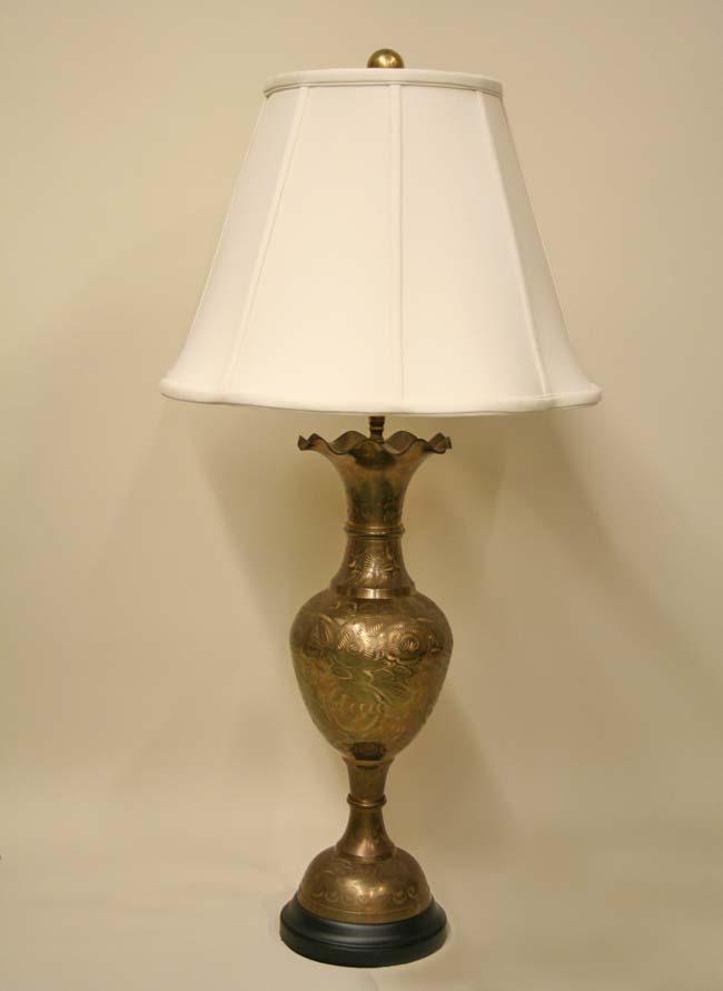 Vintage Etched Brass Vase Lamp W Fluted Top Amp Black Base