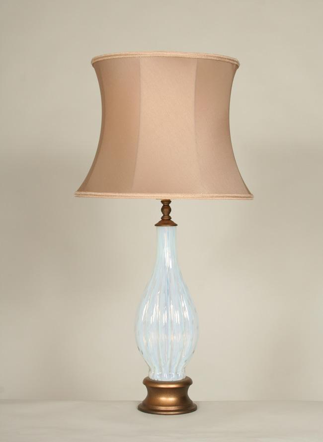 Vintage Vaseline Glass Fluted Vase Table Lamp, c. 1950
