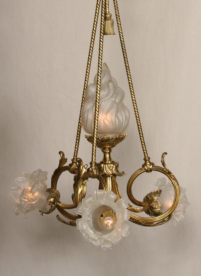 French cast brass vintage chandelier c 1940 aloadofball Images
