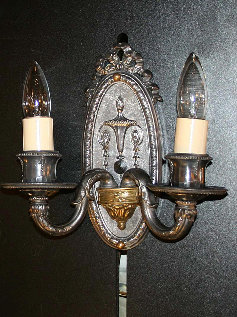 Pair of neoclassical antique silver wall sconces c 1915