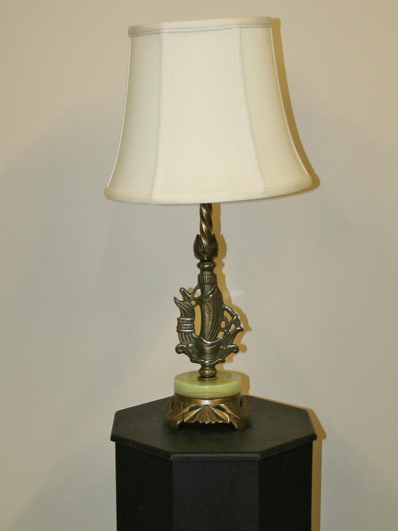 Art deco viking ship accent lamp w onyx on cast footed base c