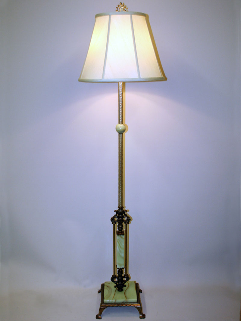 Akro Agate Accented Art Deco Floor Lamp W Footed Square Base C 1930