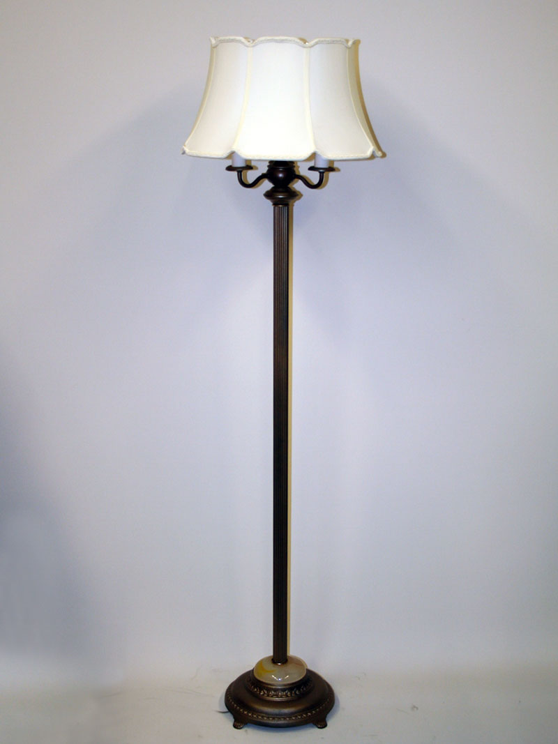 Six way antique metallic brass floor lamp w faux onyx inset c