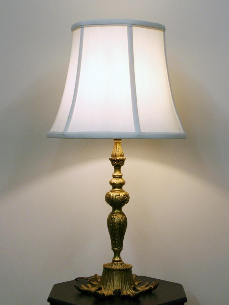 Ornate Cast Brass Table Lamp W Leaf Design Footed Base C 1950