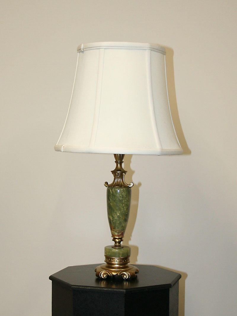 Green Onyx Urn Shaped Table Lamp On Greek Key Accented Footed Base