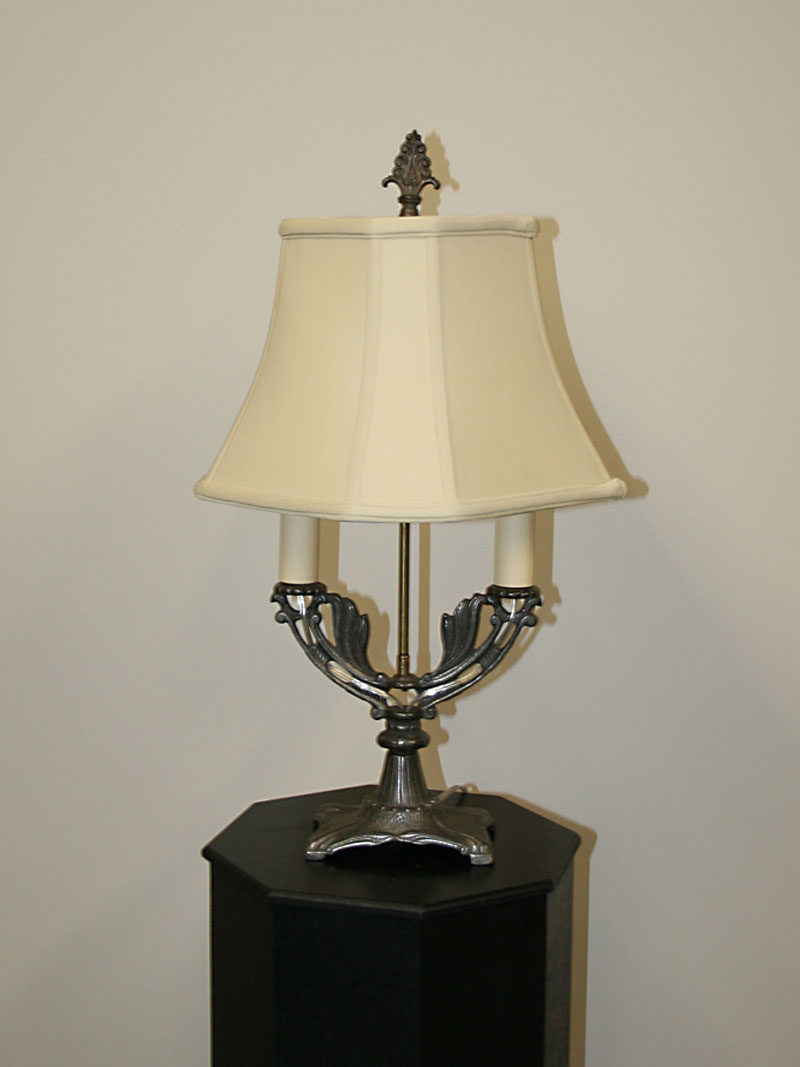 Art Deco 2 Light Cast Iron Table Lamp W Raw Finish C 1930