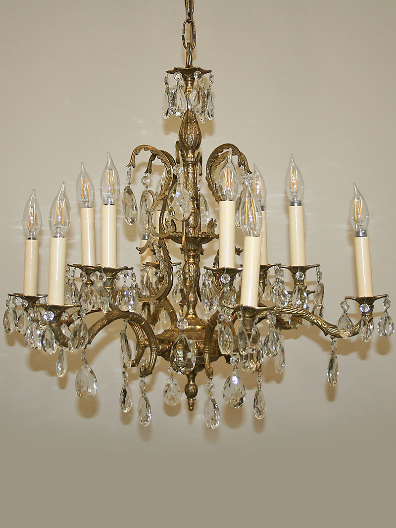 Vintage spanish cast 12 light brass crystal chandelier w caged column c 1950