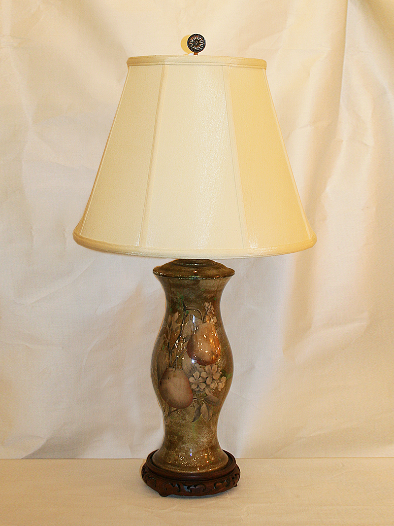 Reverse Painted Decoupage Glass Lamp on Carved Wood Base, c. 1960