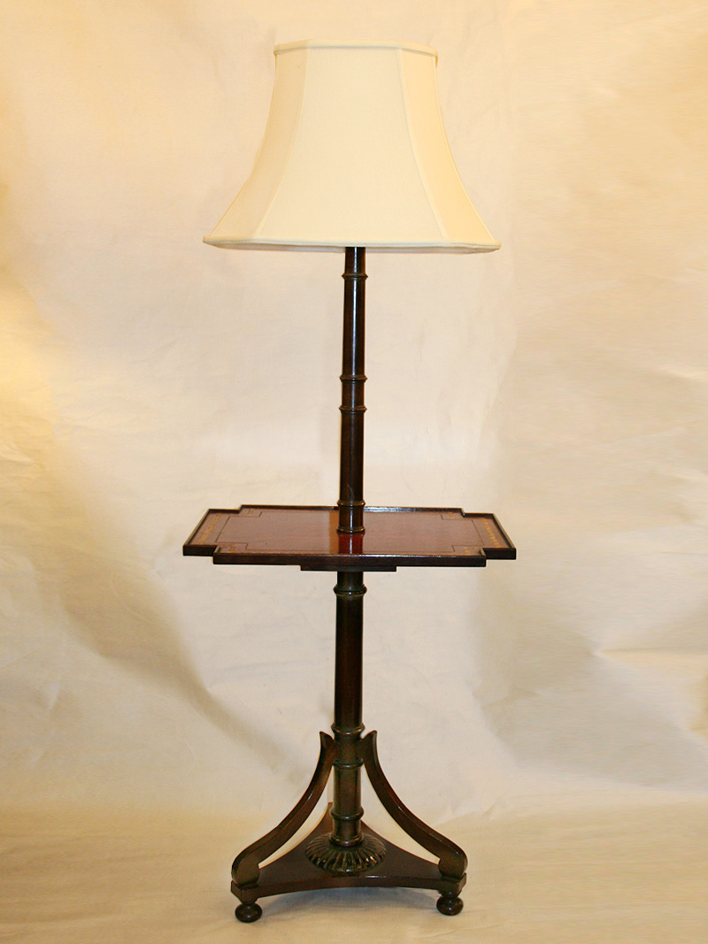 Colonial Revival Wood Table Floor Lamp W Leather Top Gold Scroll Border C 1930