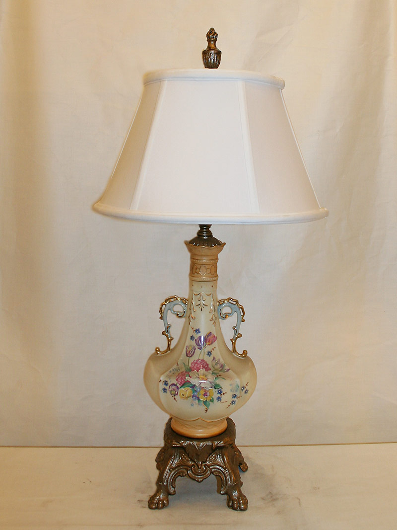 Pair of porcelain table lamps w painted floral bouquet gold accents c