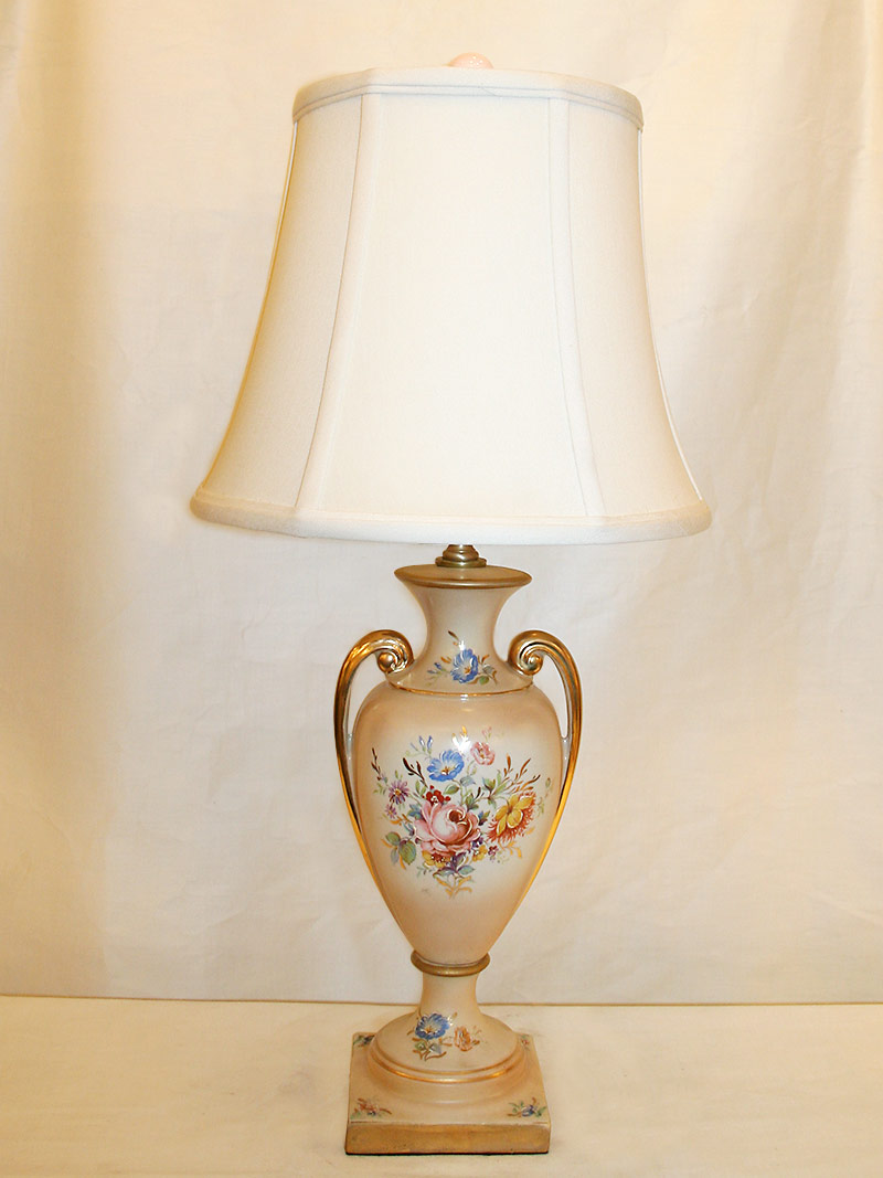 Attrayant Porcelain Table Lamp W/ Hand Painted Rose U0026 Gold Accents, C. Early 1900u0027s