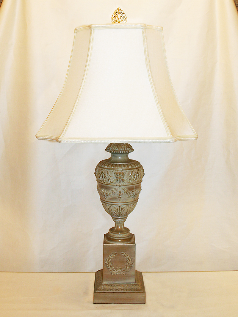 Pair Of French Neoclassical White Washed Urn Table Lamps W Square