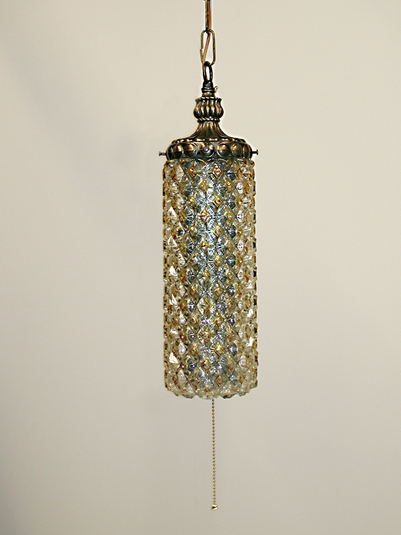 Molded diamond shaped glass cylinder swag lamp w antiqued finish c 1960