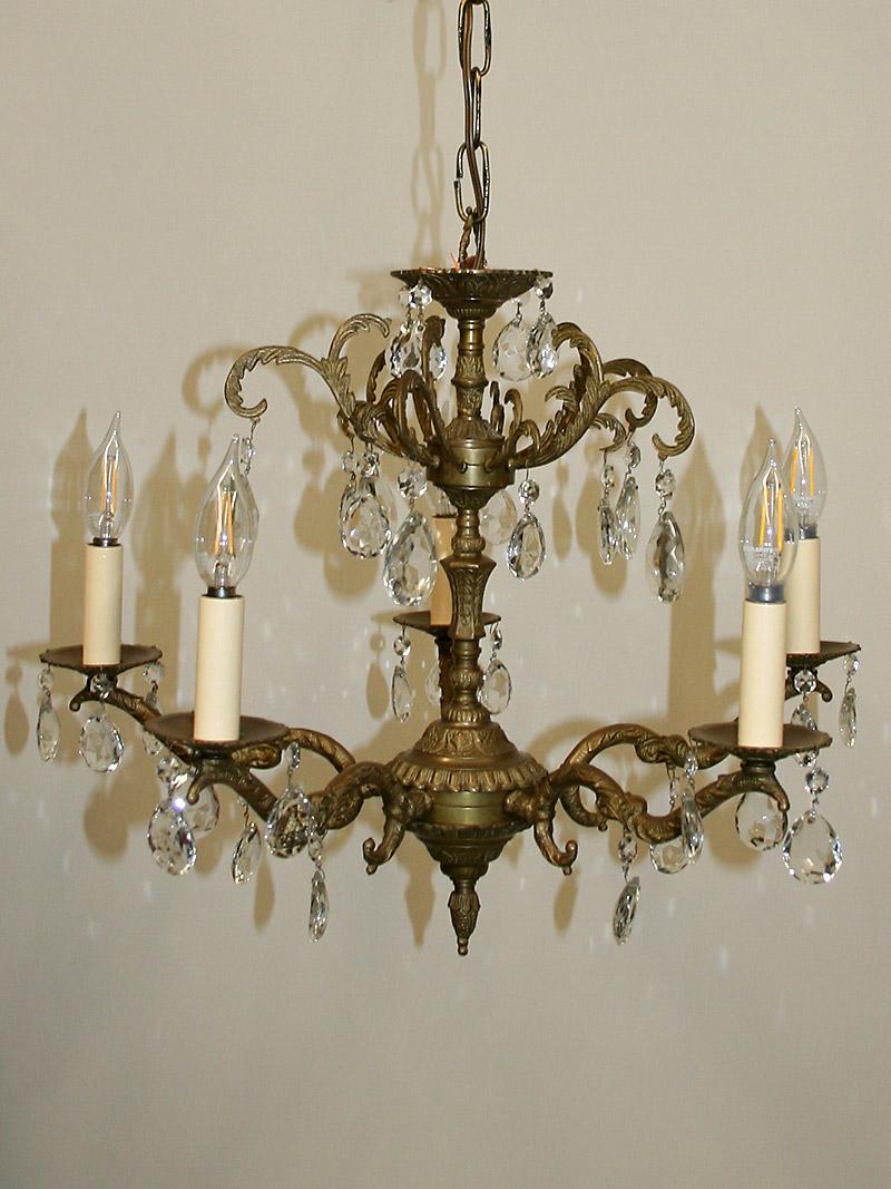 Vintage Brass Crystal Chandelier W Leaf Details C 1950