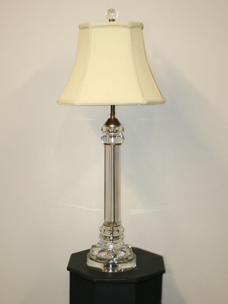 Vintage Clear Glass Pillar Table Lamp W Acrylic Base C 1960