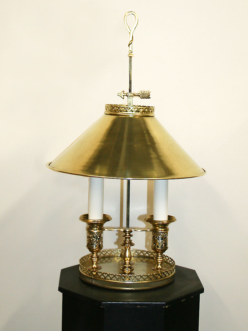 2 Lt Bouillotte Lamp W Brass Shade C Early 20th Century