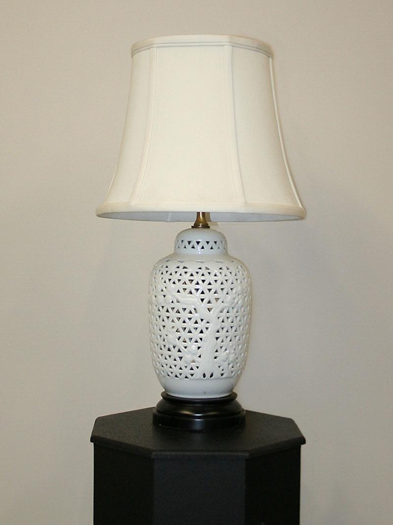 Vintage Blanc De Chine Porcelain Table Lamp W/ Black Base, C. 1940