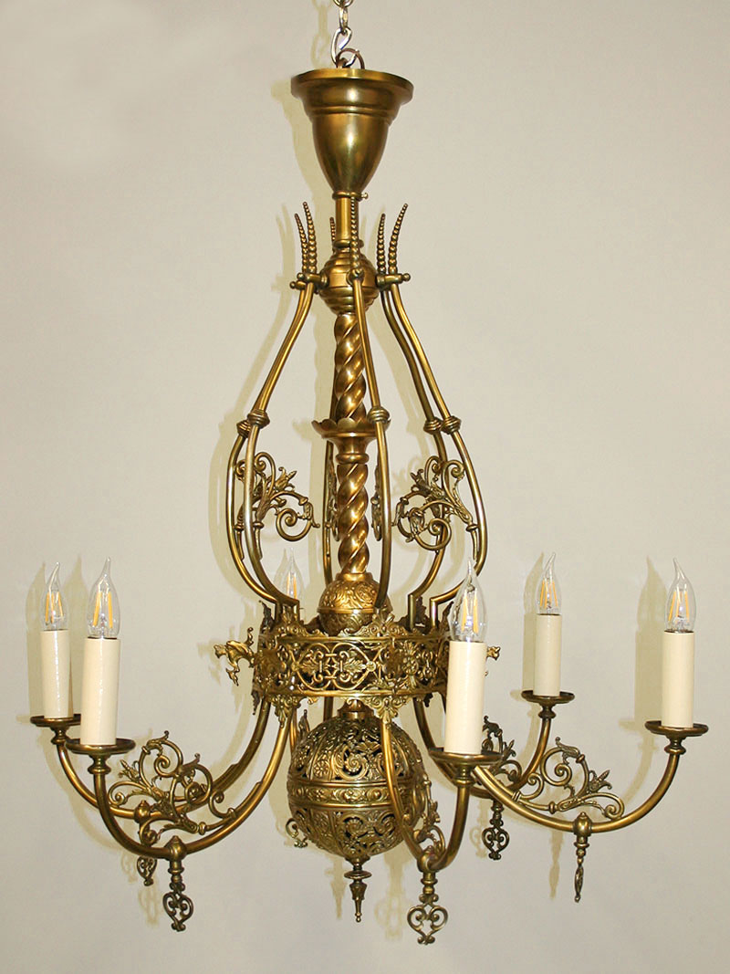 Late 19th Century 6 Light Victorian Chandelier W Dragon Head Ornaments