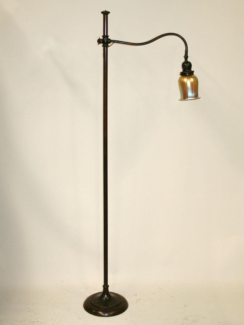 1915 Handel Bronzed Bridge Arm Adjustable Height Floor Lamp