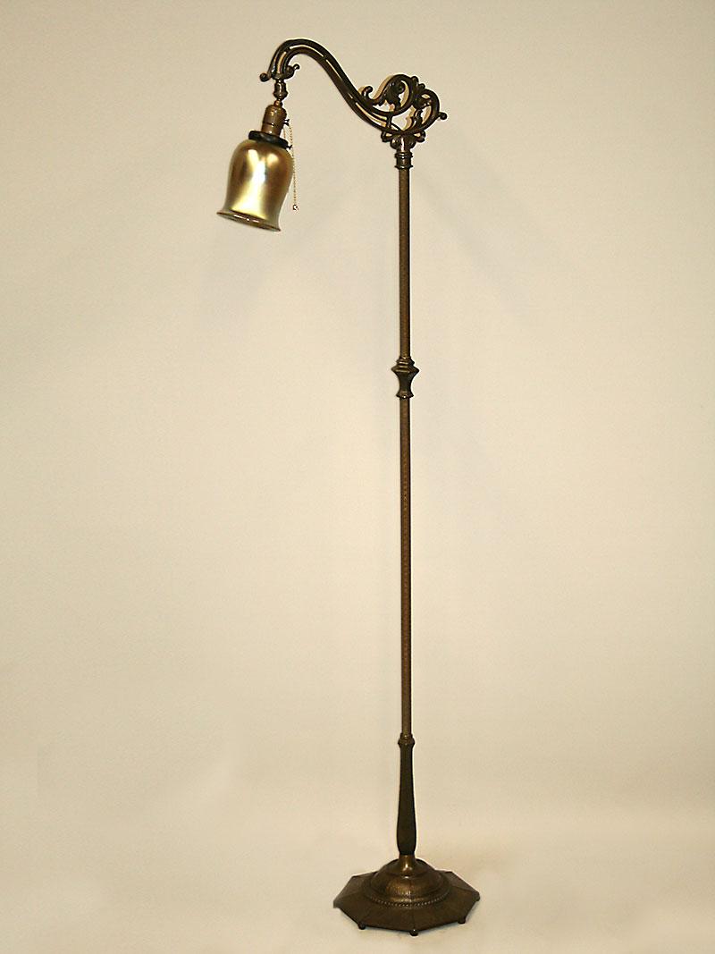 Vintage Art Deco Bridge Floor Lamp W Faux Hammered Hex