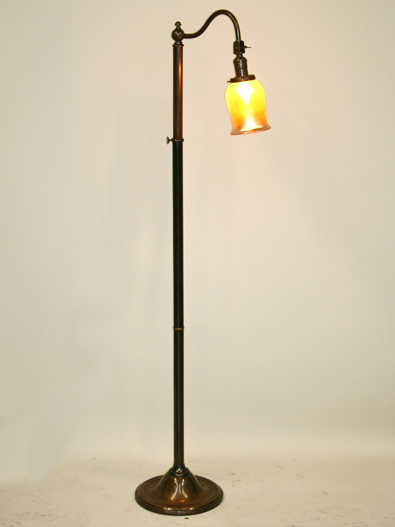 Dark Antique Brass Vintage Bridge Floor Lamp W Gooseneck
