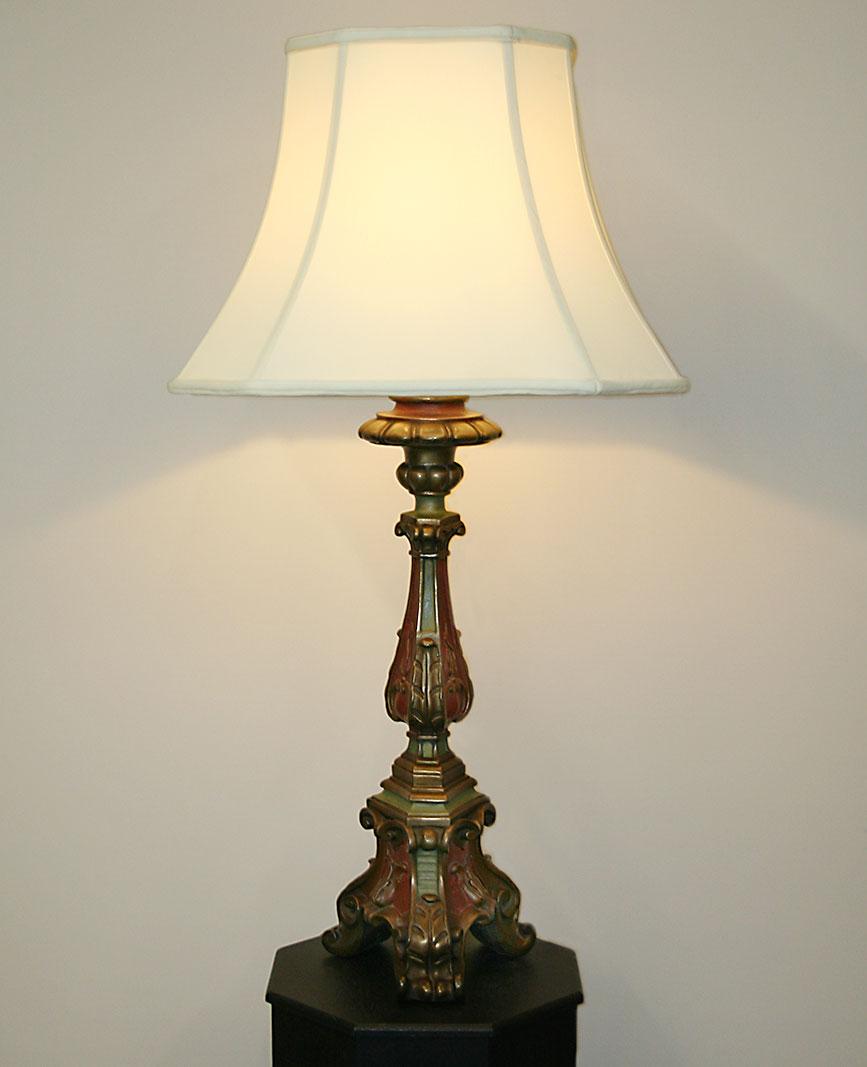 Ordinaire Vintage Painted Italian Table Lamp W/ Ornate Carving U0026 All Original Finish,  C.