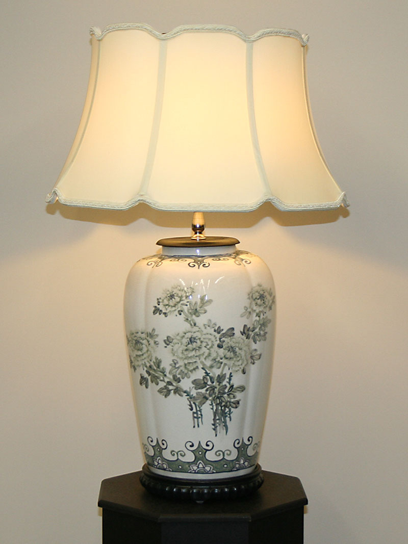 Crackle Glaze Porcelain Lamp W Hand Painted Green Flowers C 1950