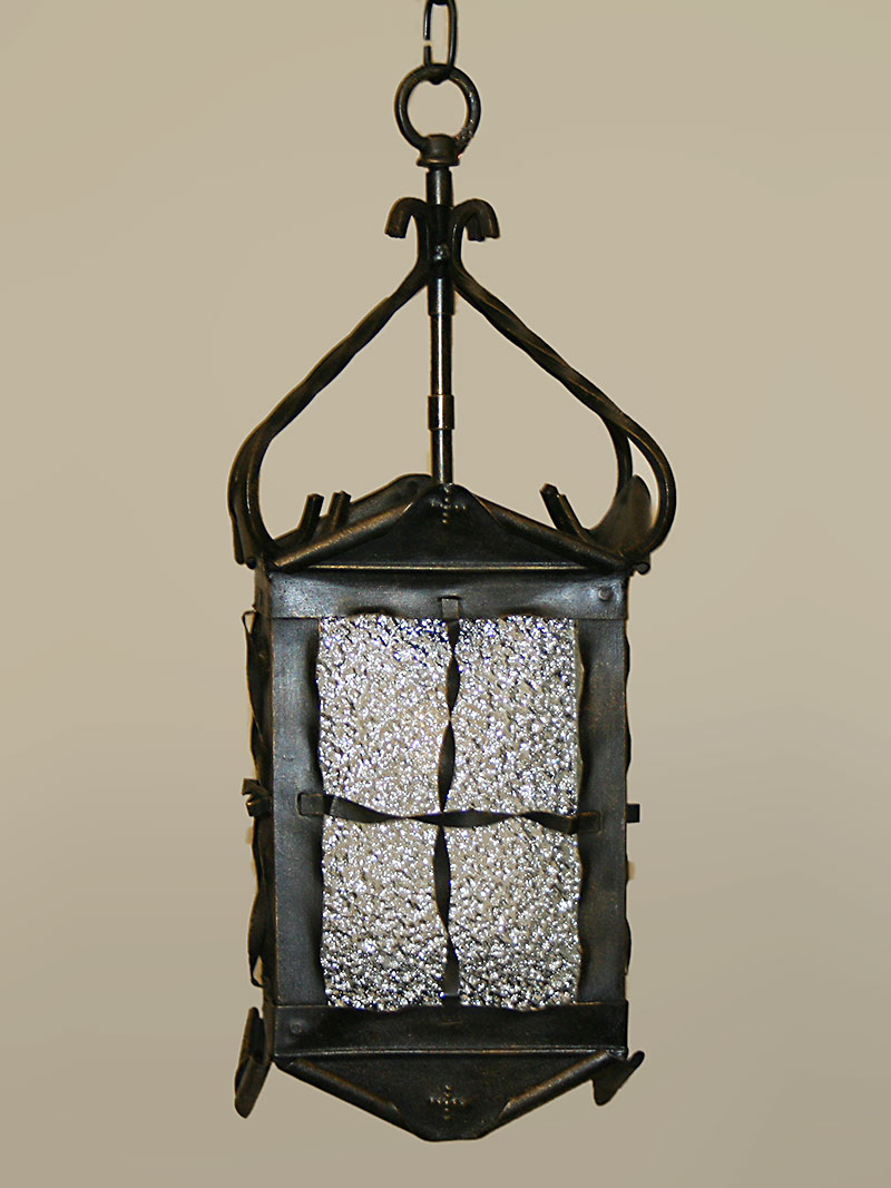 Rustic Lantern W Pebbled Glass C 1960